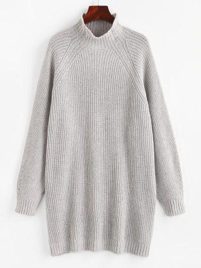 High Neck Raglan Sleeve Tunic Sweater - Gray S