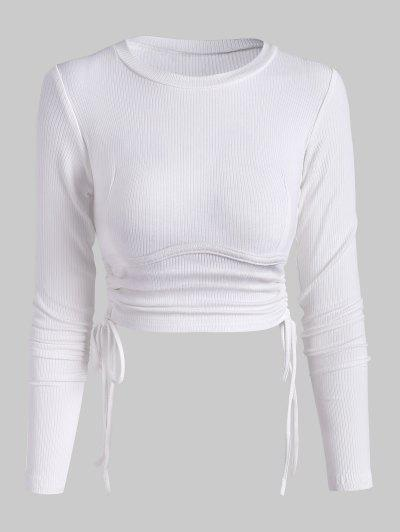 Ribbed Side Cinched Crop Top - White S