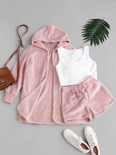 Lounge Fuzzy Three Piece Shorts Set - Light Pink M
