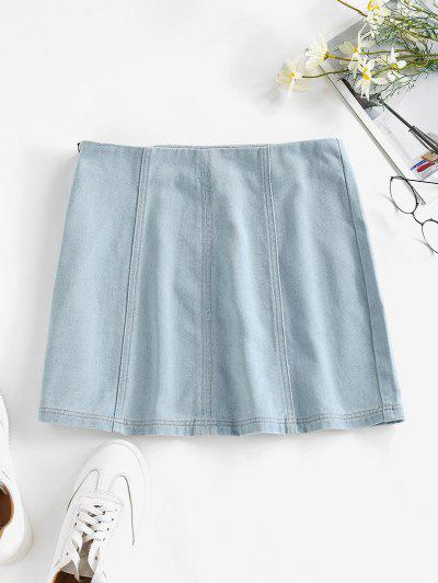 ZAFUL Plain Bodycon Denim Skirt - Light Blue S