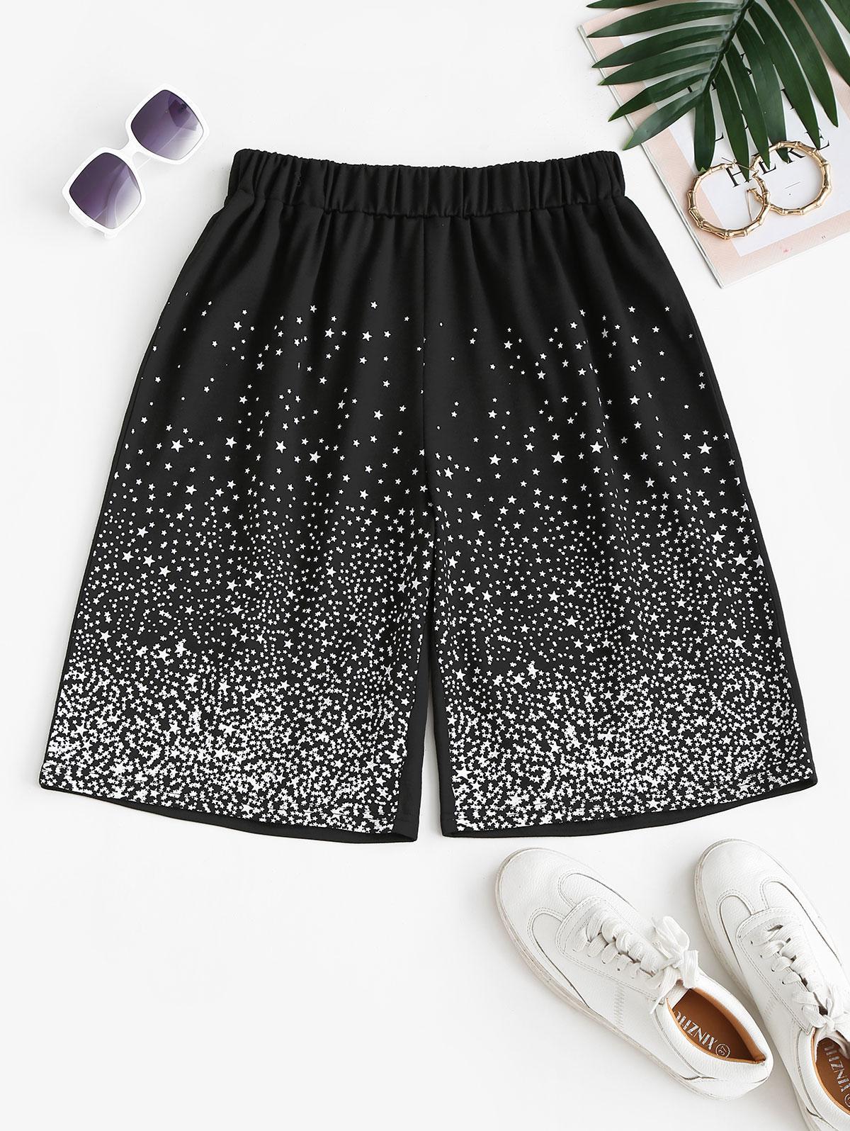Stars Print Sweat Bermuda Shorts