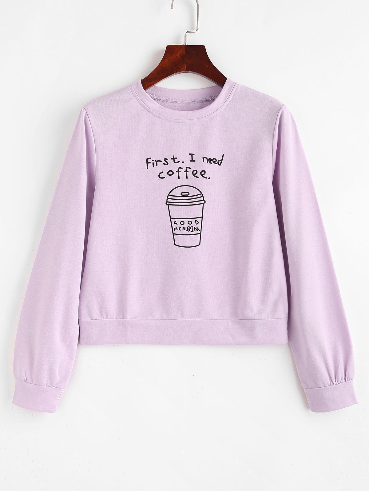 Pullover I Need Coffee Graphic Sweatshirt