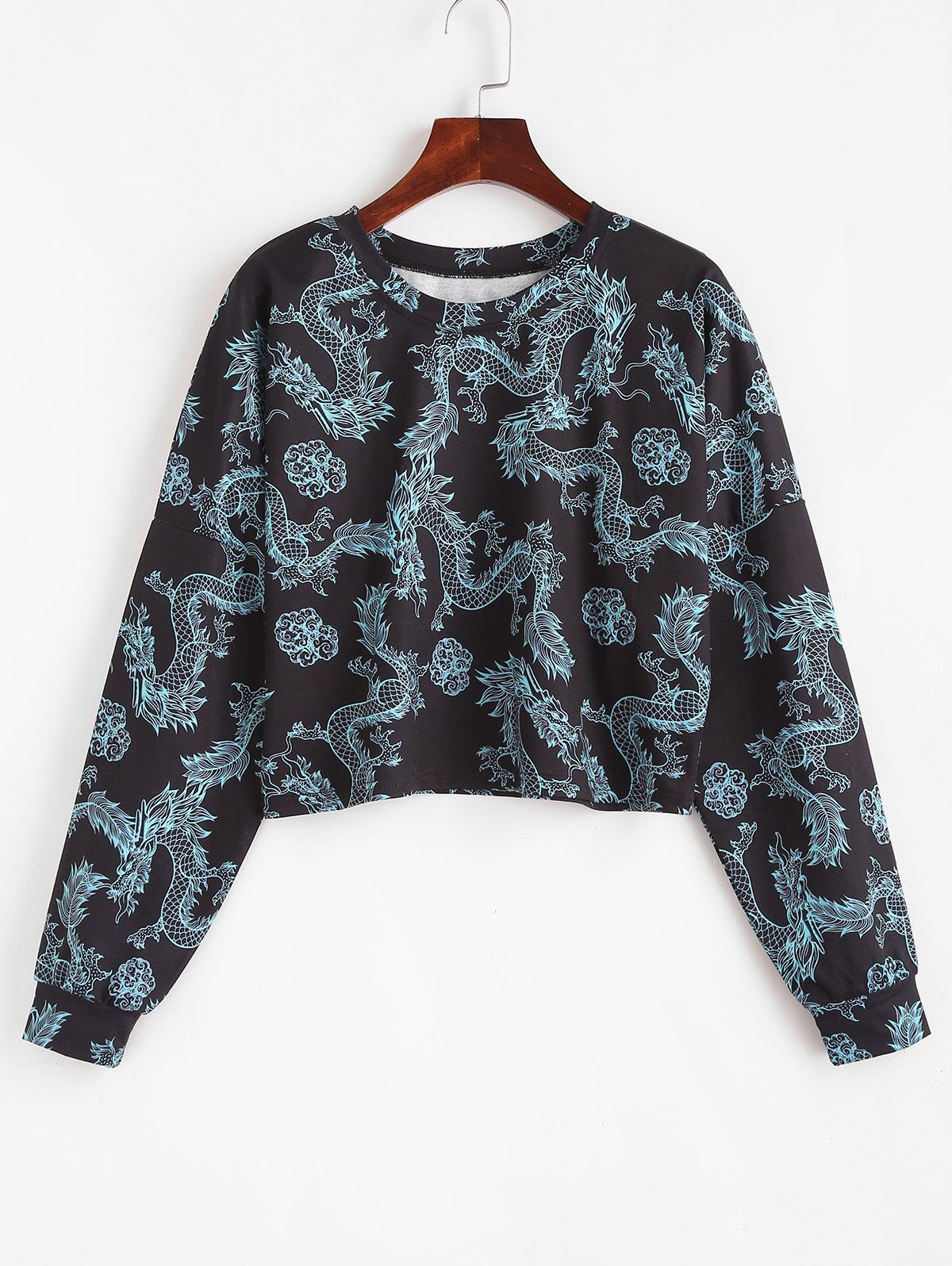 Drop Shoulder Dragon Oriental Sweatshirt