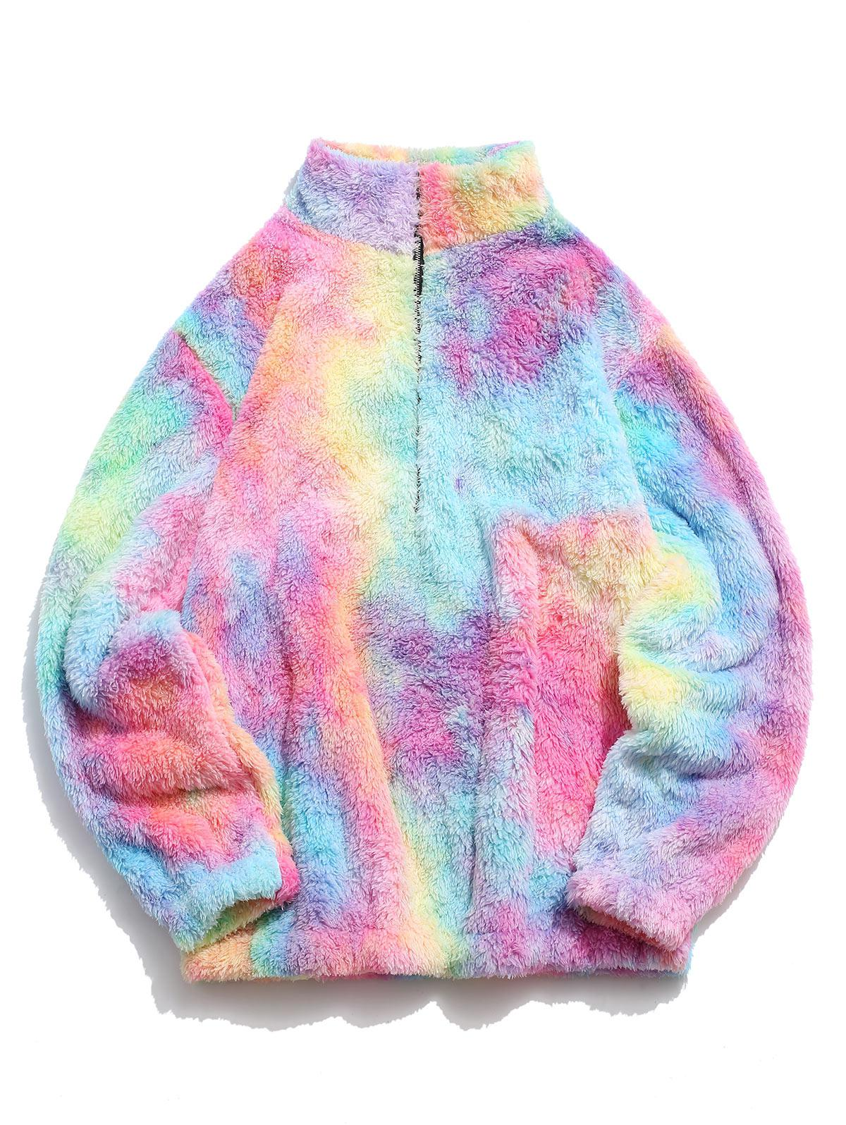 Half Zip Colorful Faux Fur Fluffy Sweatshirt