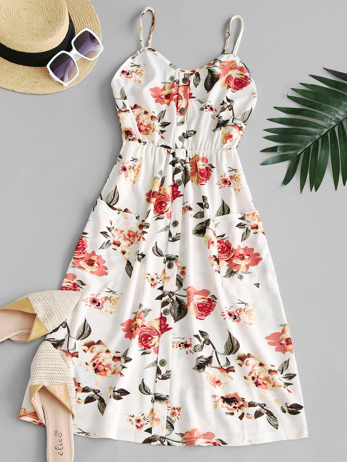 Floral Shirred Back Front Pocket Cami Dress