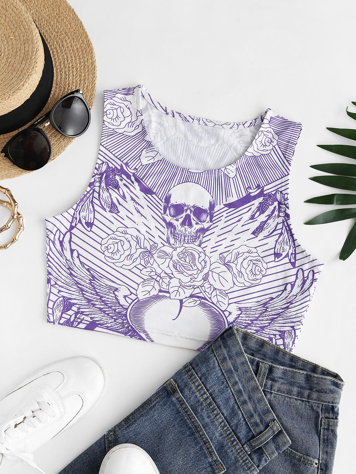 Halloween Floral Skull Print Crop Top