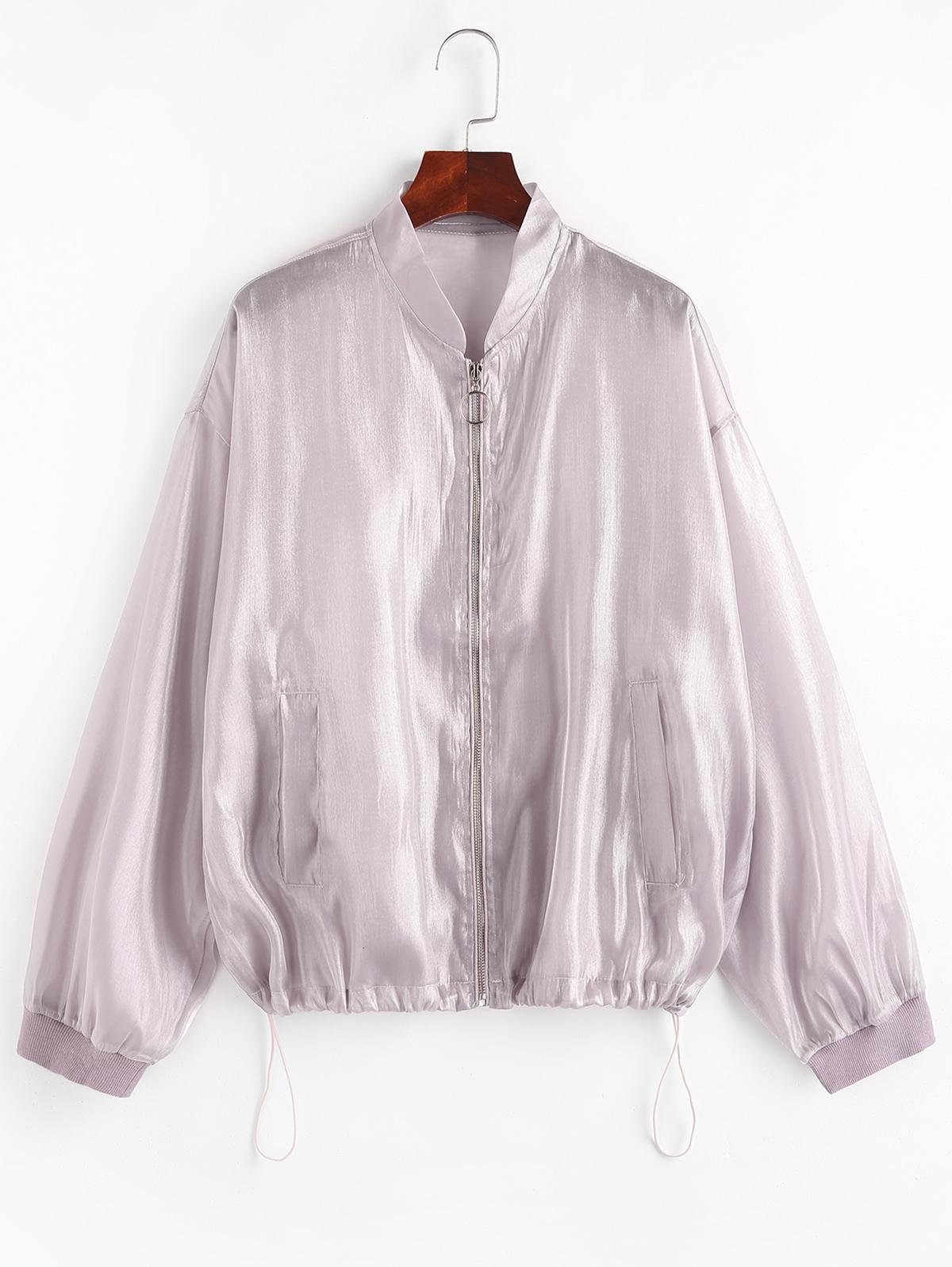Zip Up Glitter Shiny Jacket