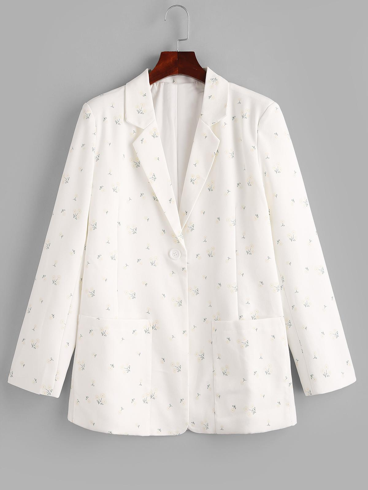 Ditsy Floral Patched Pockets One Buttoned Blazer