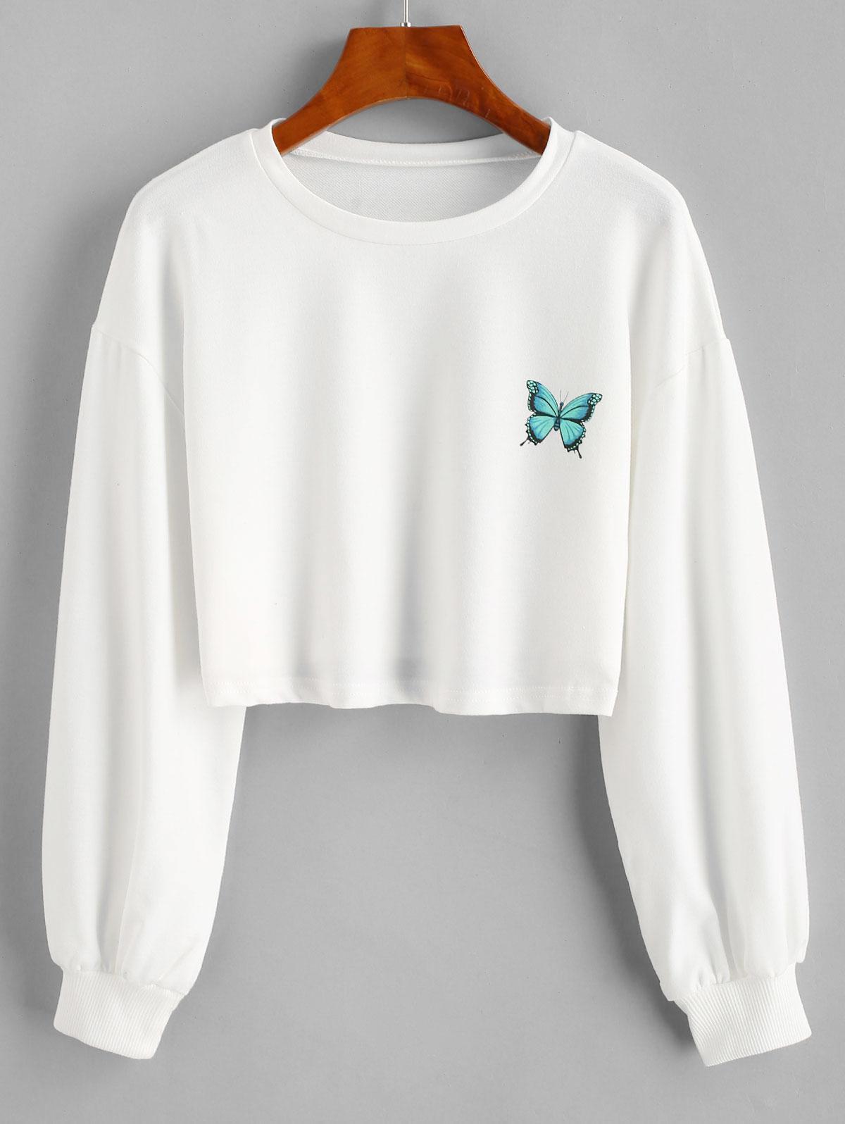 Drop Shoulder Butterfly Graphic Pullover Sweatshirt