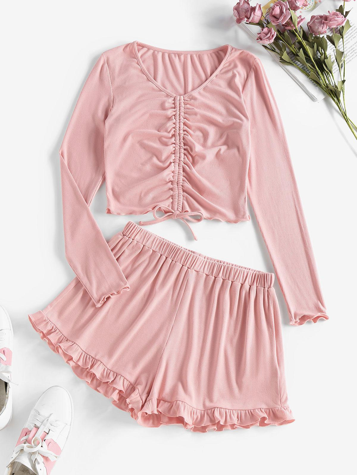ZAFUL Ribbed Cinched Frilled Two Piece Shorts Set