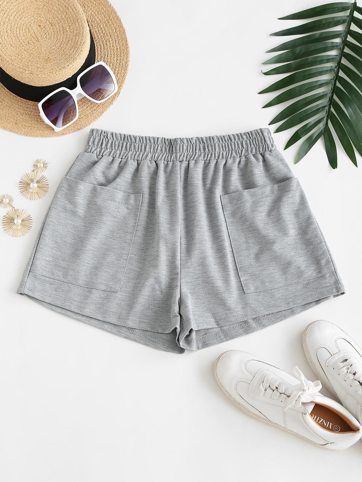 Front Pocket Marled Sweat Shorts
