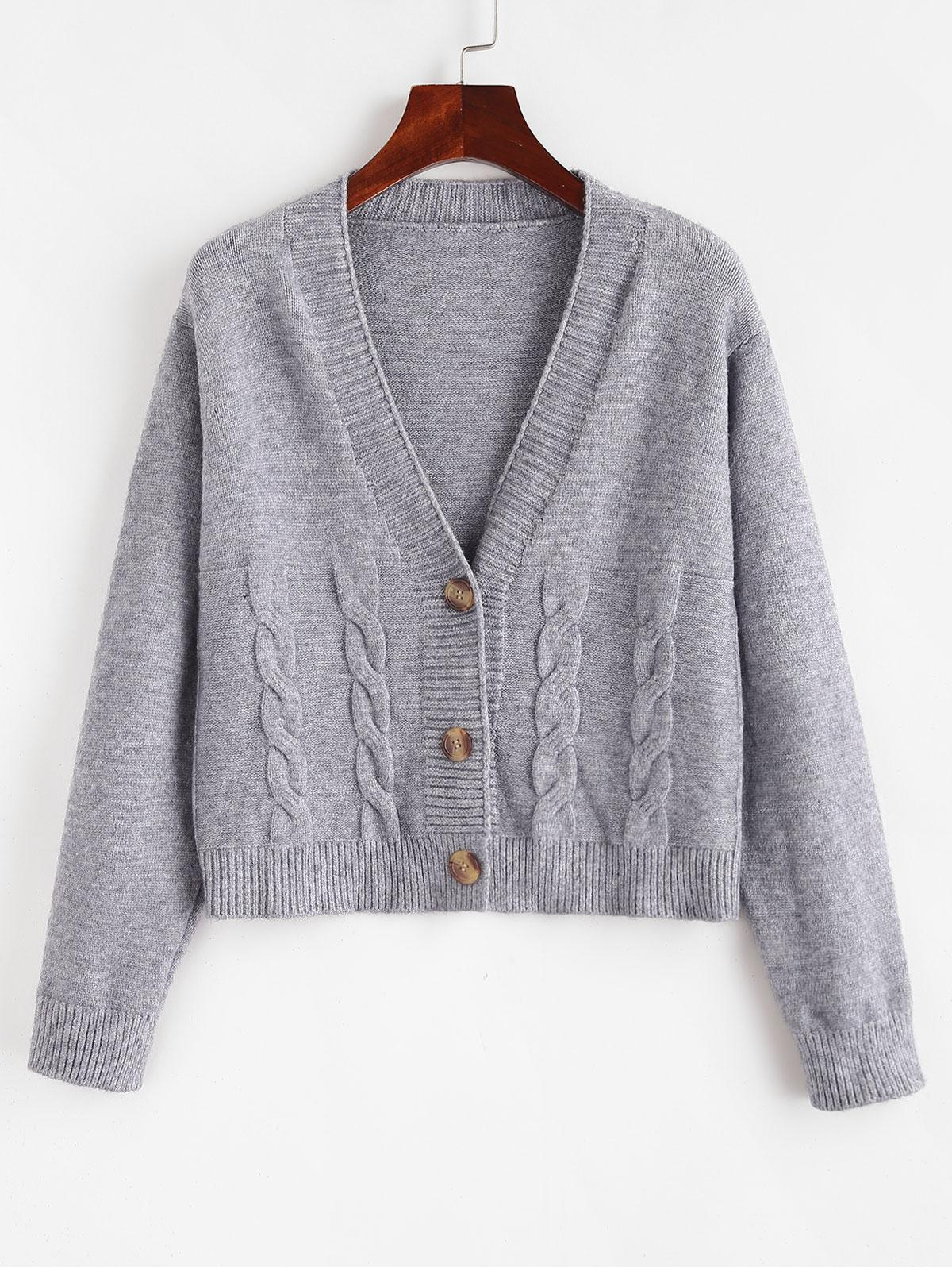 Button Up V Neck Cable Knit Cardigan