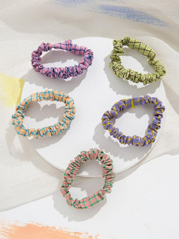 5Pcs Plaid Fabric Hair Ties Set