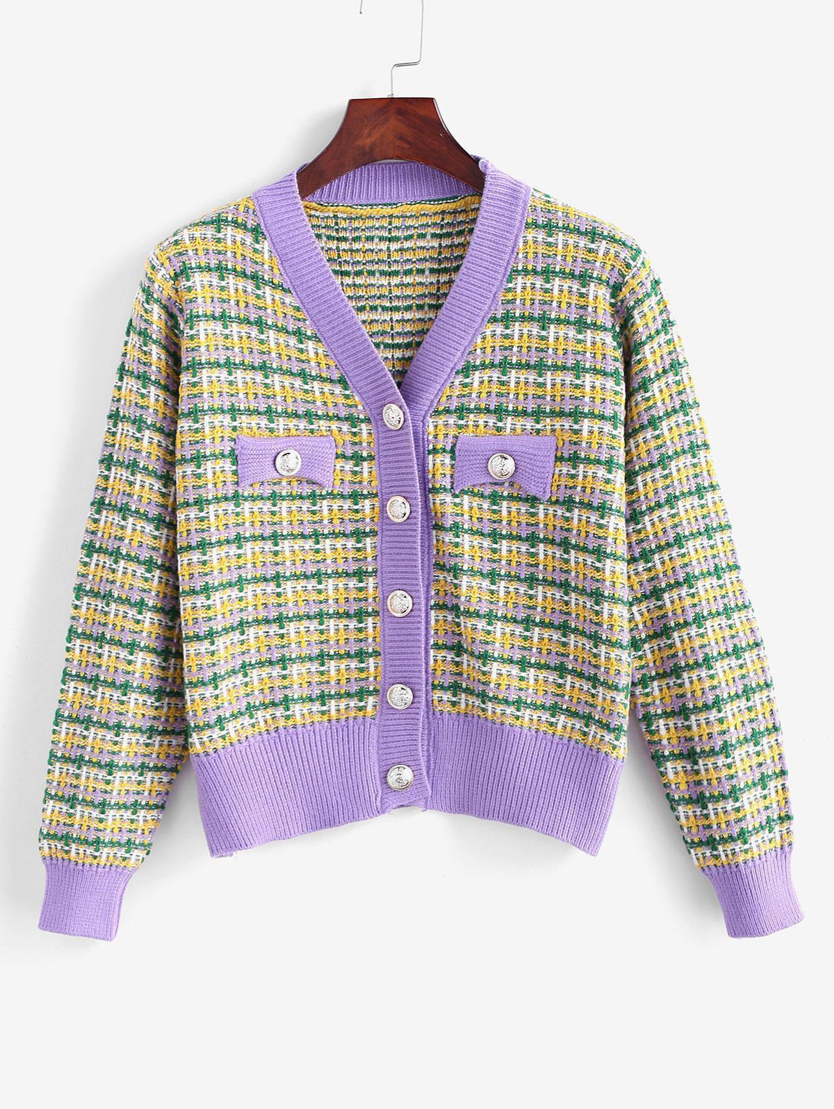Plaid Knit Mock Button V Neck Cardigan