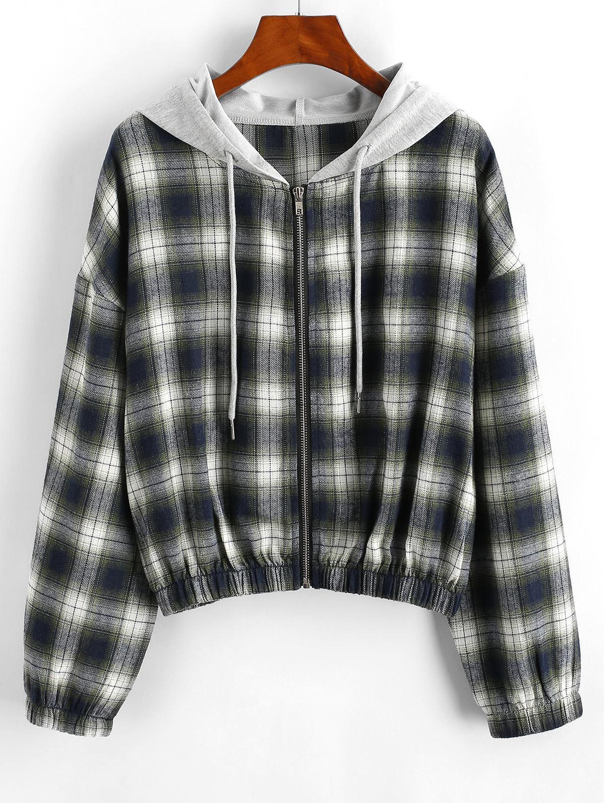 Plaid Hooded Zip Drop Shoulder Jacket