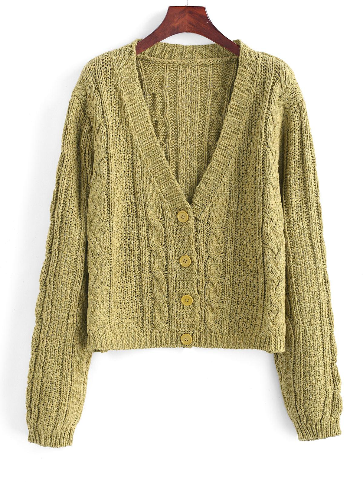Plunging Button Up Cable Knit Cardigan