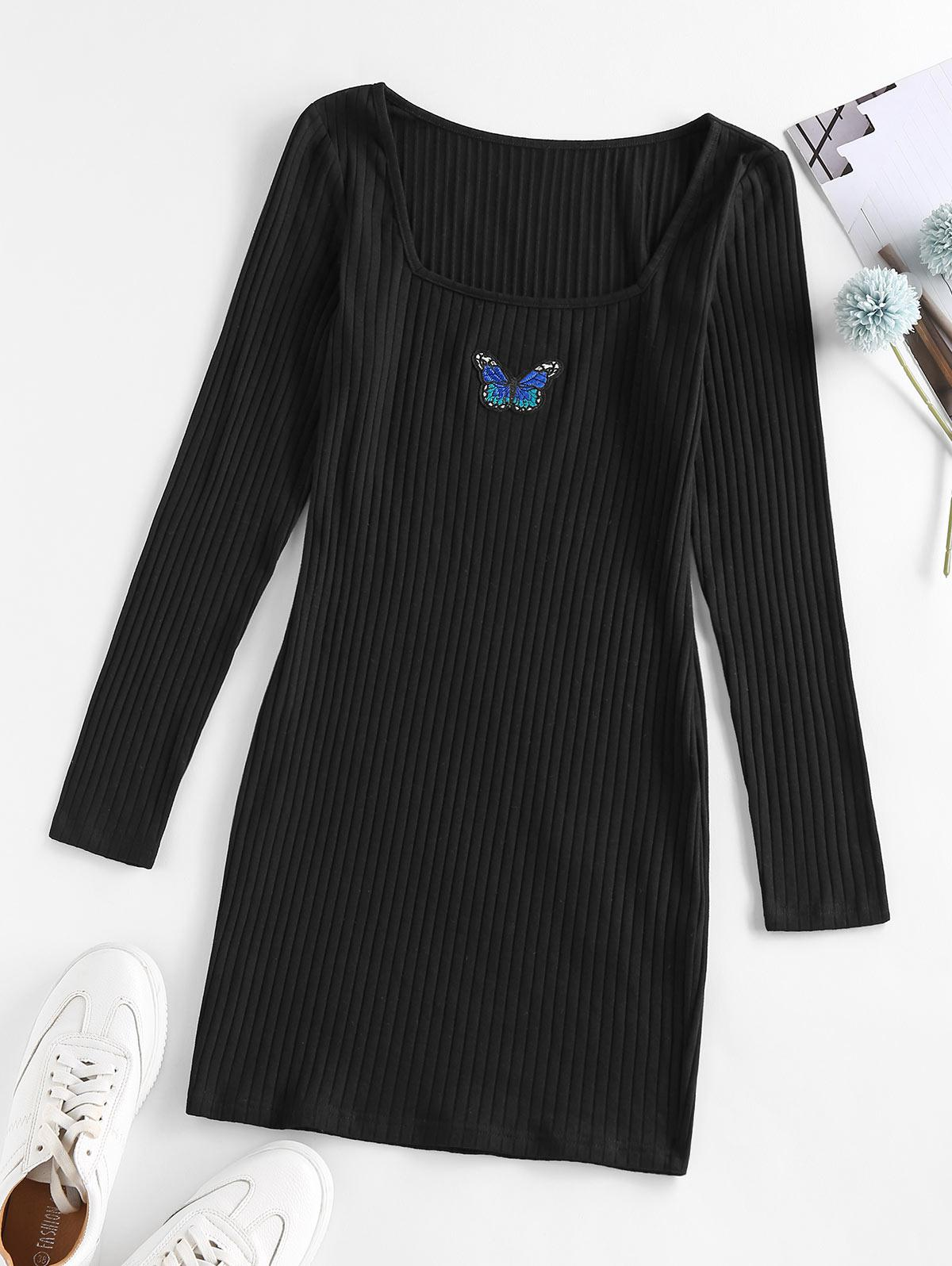 ZAFUL Ribbed Butterfly Applique Bodycon Dress