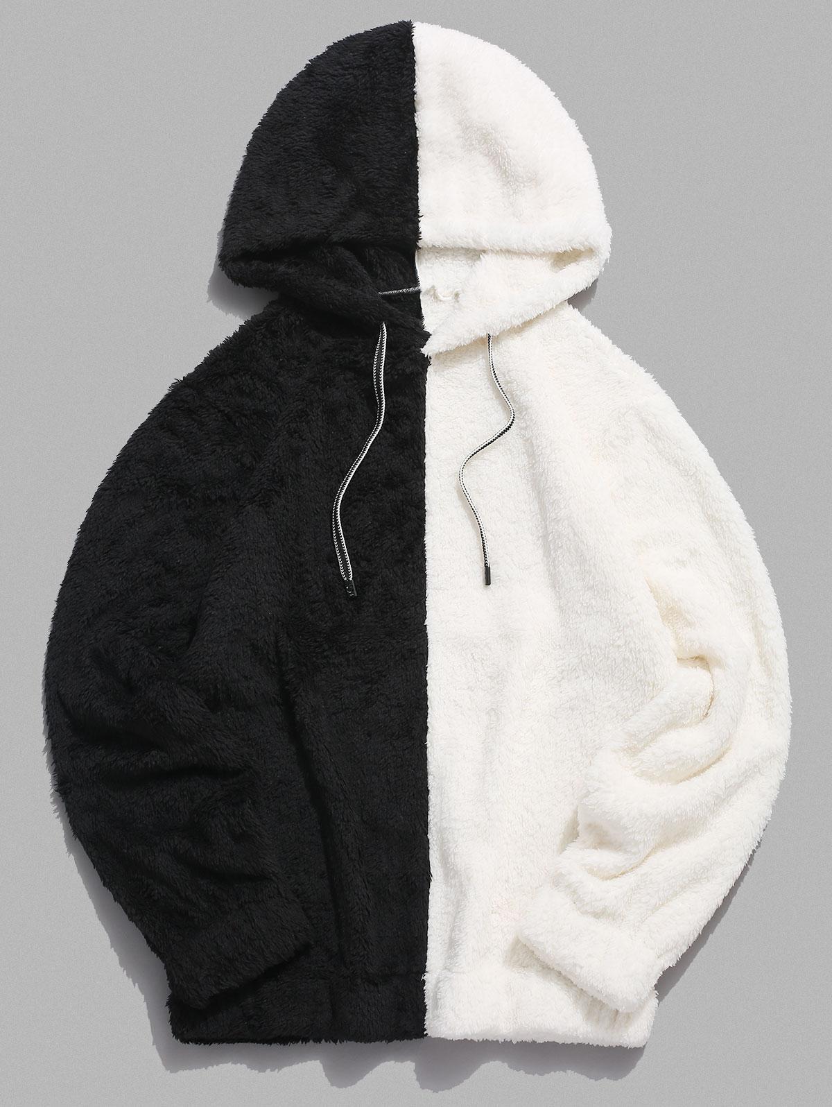 Contrast Faux Fur Fluffy Hoodie