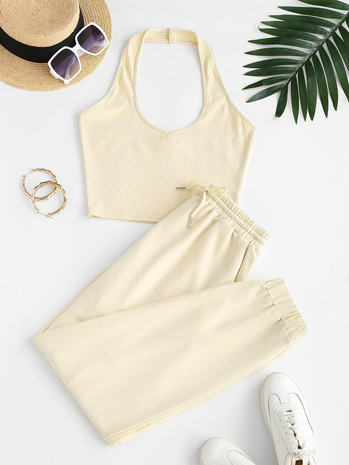 Sweat Halter Ribbed Two Piece Pants Set