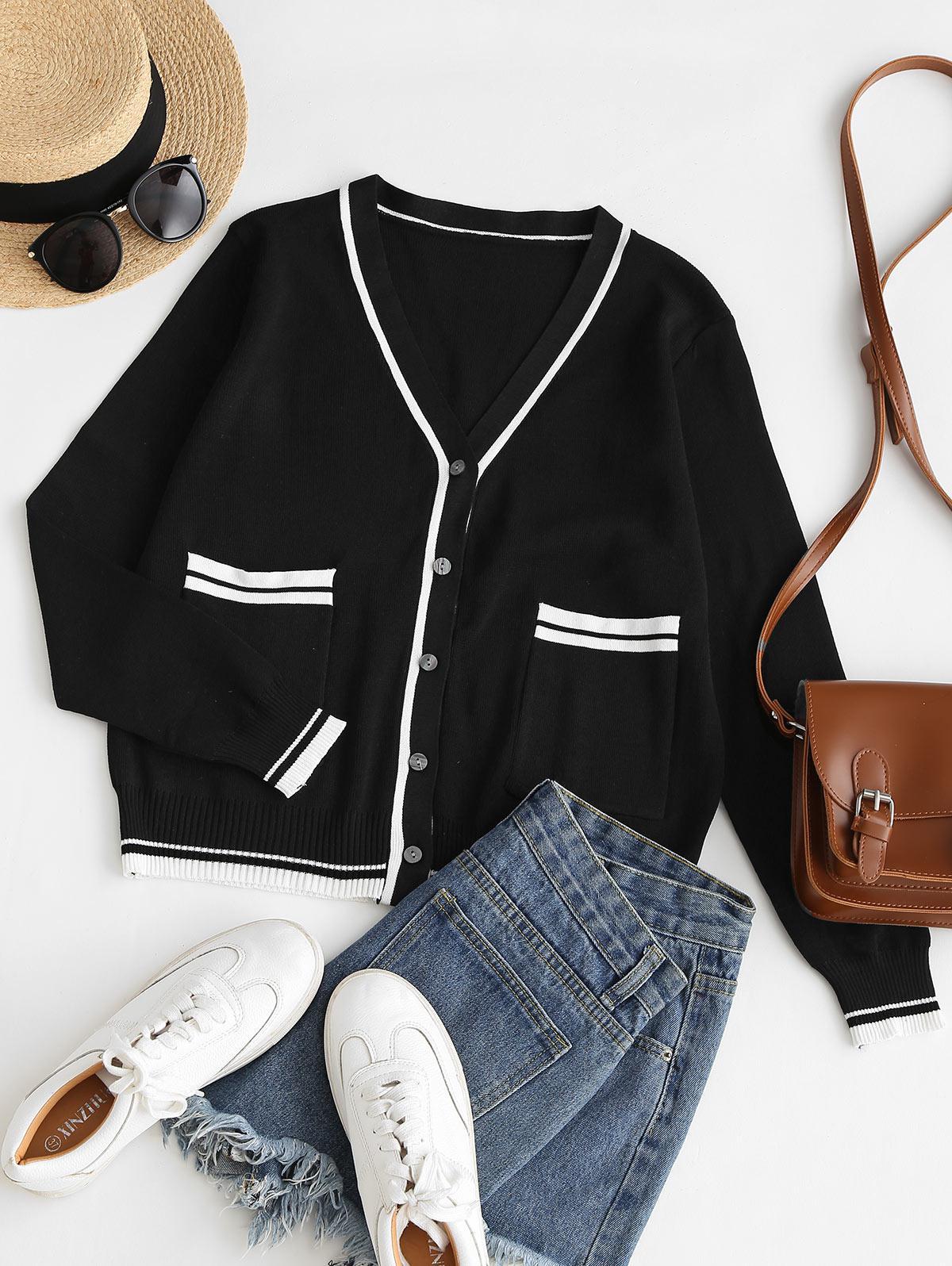 Plunge Contrast Knit Pocket Cardigan
