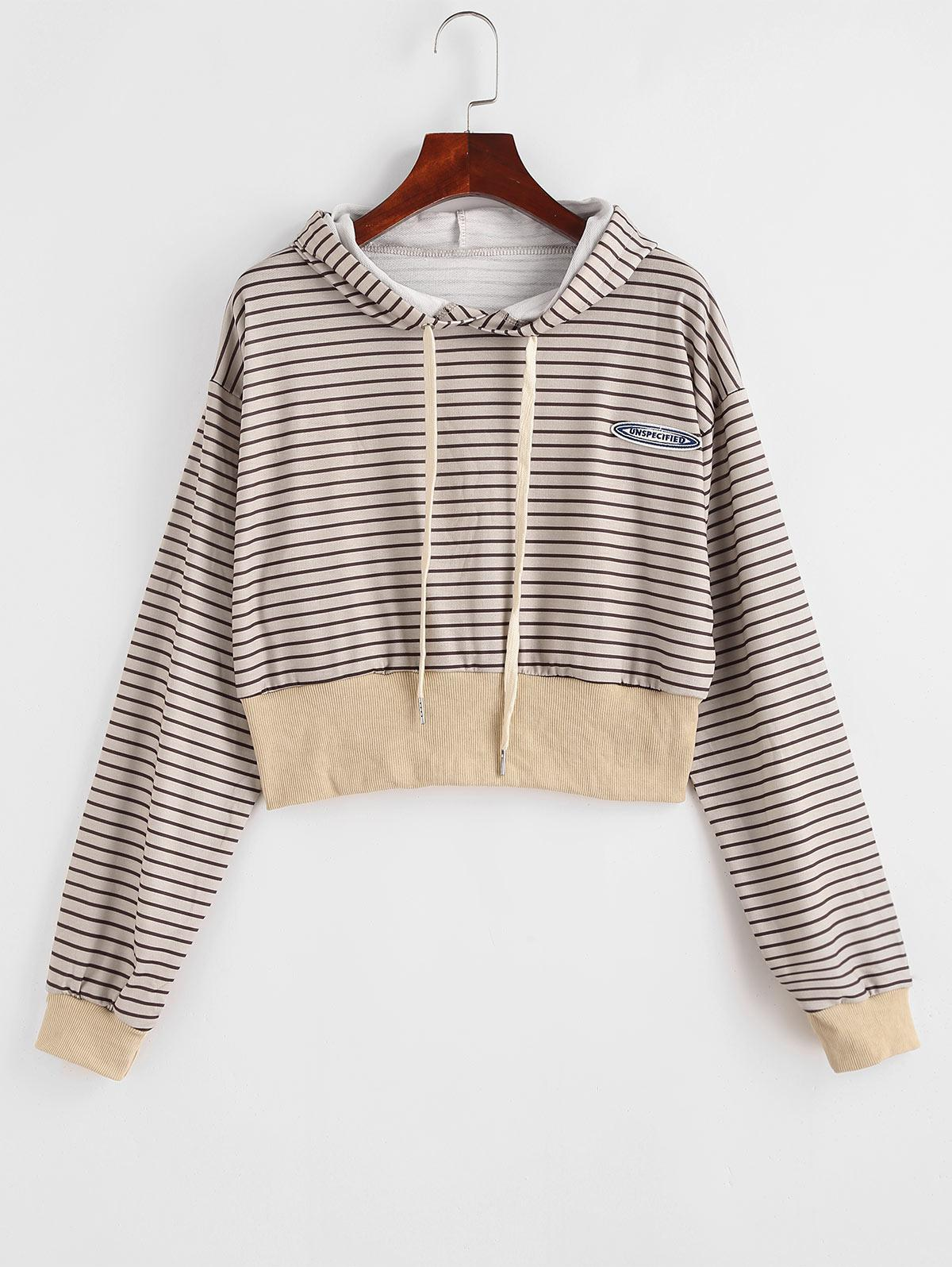 Drawstring Stripes Letter Patched Hoodie