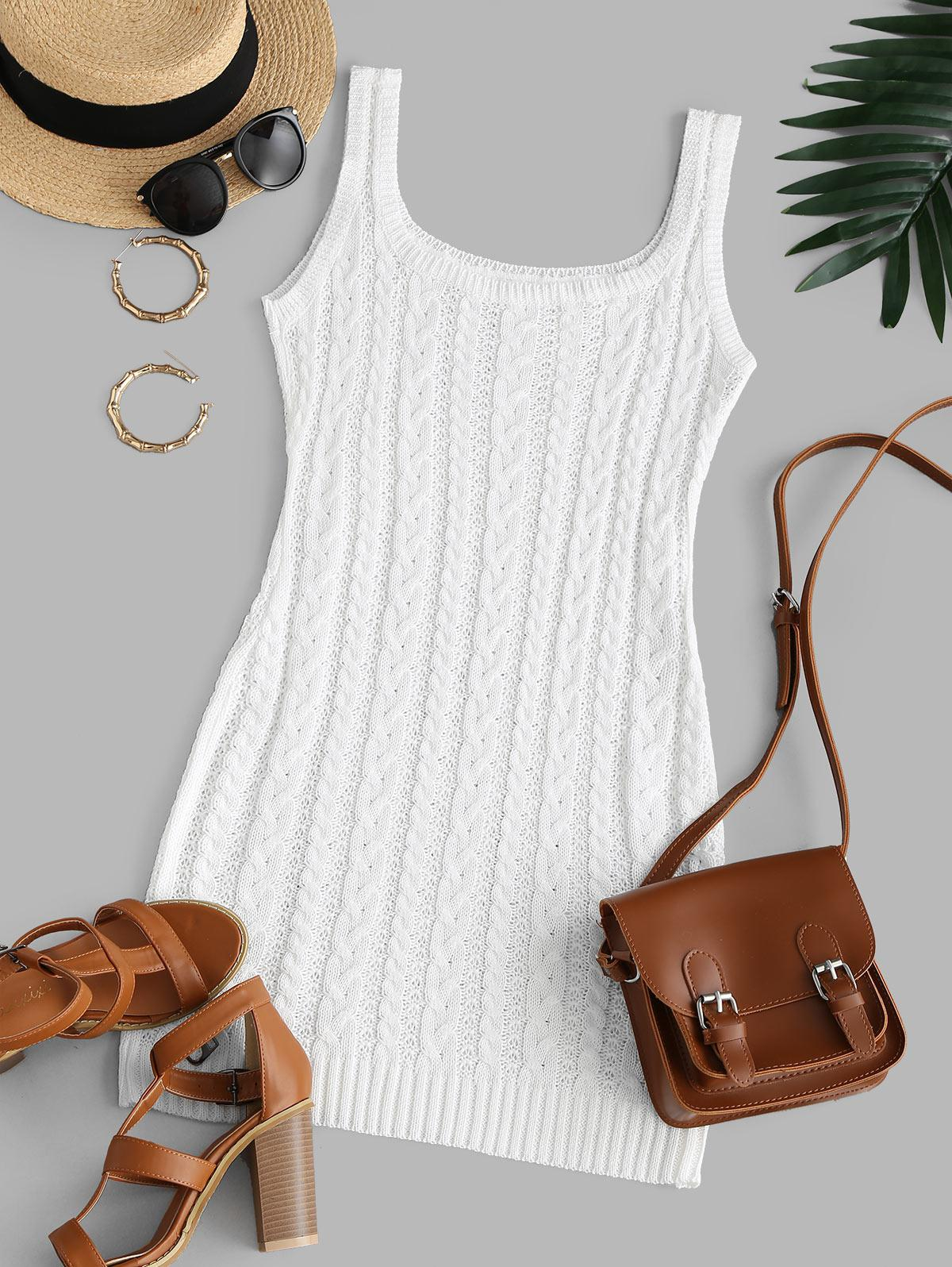 Cable Knit Bodycon Tank Sweater Dress