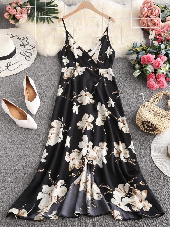 hot ZAFUL Flower Slit Maxi Surplice Dress - BLACK S
