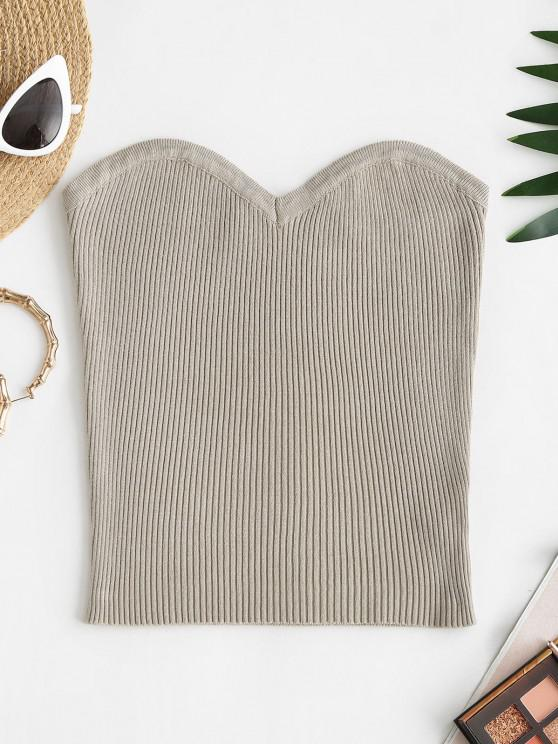 ladies Ribbed Knitted Tube Top - LIGHT COFFEE S