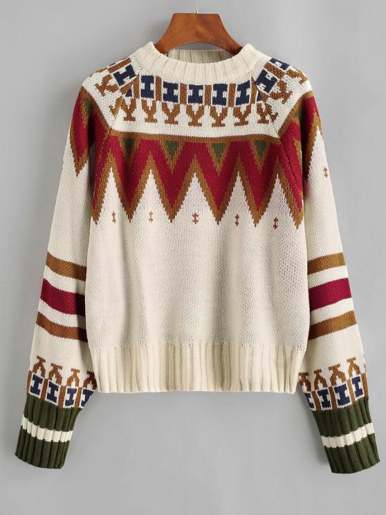 Camisola suéter gola redonda com marcas gráficas - Café Light Um Tamanho