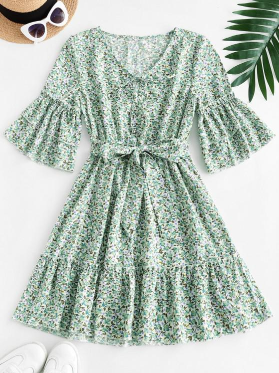 fancy Ditsy Floral Print Tie Tiered Sleeve Dress - GREEN S