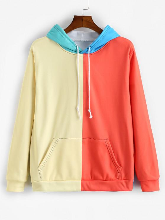 Color Blocking Panel Flocking Hoodie - متعددة-B L