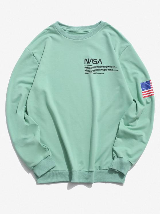 latest American Flag Letter Print Rib-knit Trim Sweatshirt - LIGHT GREEN L