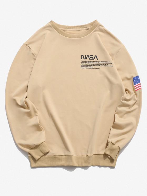 buy American Flag Letter Print Rib-knit Trim Sweatshirt - LIGHT YELLOW 2XL