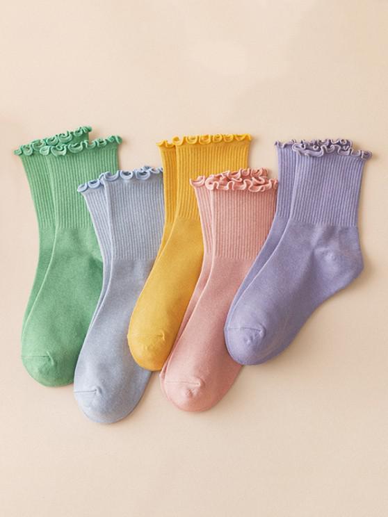trendy 7 Pairs Solid Flounce Socks Set - MULTI-A