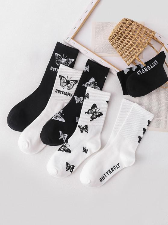 chic 6 Pairs Butterfly Letter Pattern Socks Set - MULTI-A