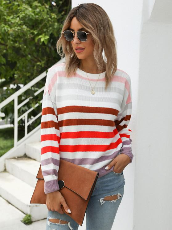 Crew Neck Striped Sweater - متعدد XL
