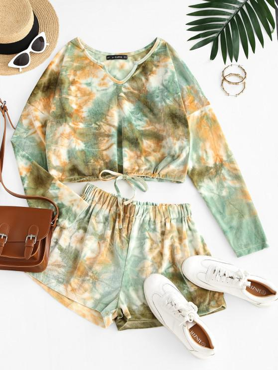 Top e Pantaloncini di Tie-Dye in Velluto con Spacco Laterale - Verde chiaro S