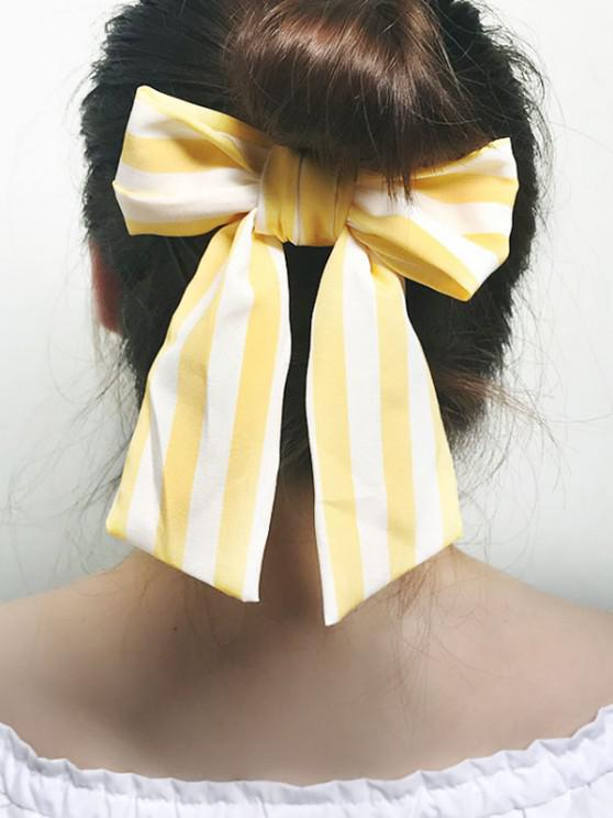 buy Striped Bowknot Elastic Hair Tie - YELLOW