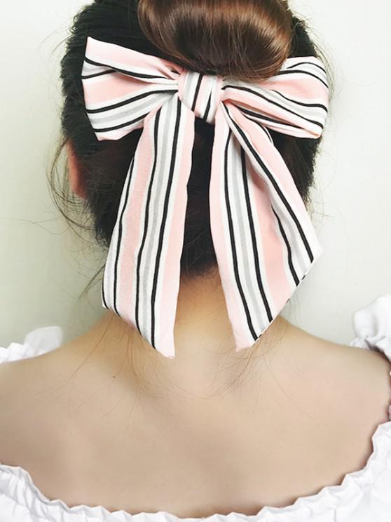 Striped Bowknot Elastic Hair Tie - وردي فاتح