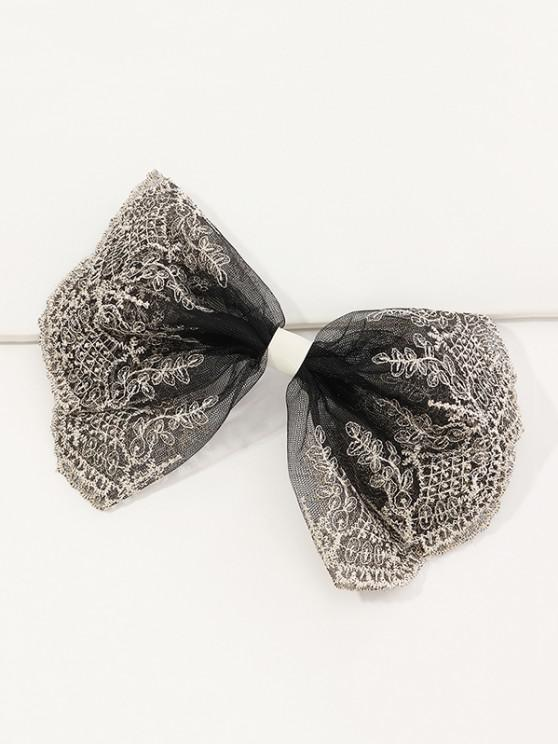 Embroidery Lace Bowknot Barrette - أسود