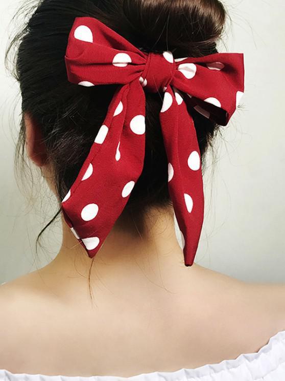 shop Dots Print Bowknot Ribbon Scrunchie - RED WINE