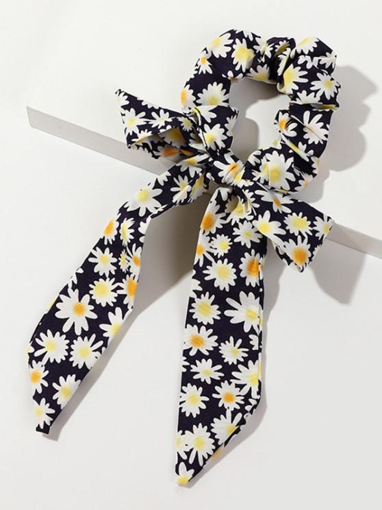 Bowknot Ribbon Flower Daisy Scrunchie - طالبا الأزرق