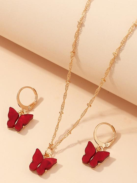 Butterfly Acrylic Earrings Necklace Set - نبيذ احمر