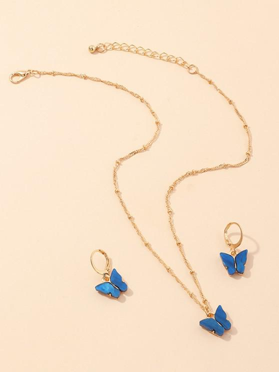 chic Butterfly Acrylic Earrings Necklace Set - BLUEBERRY BLUE