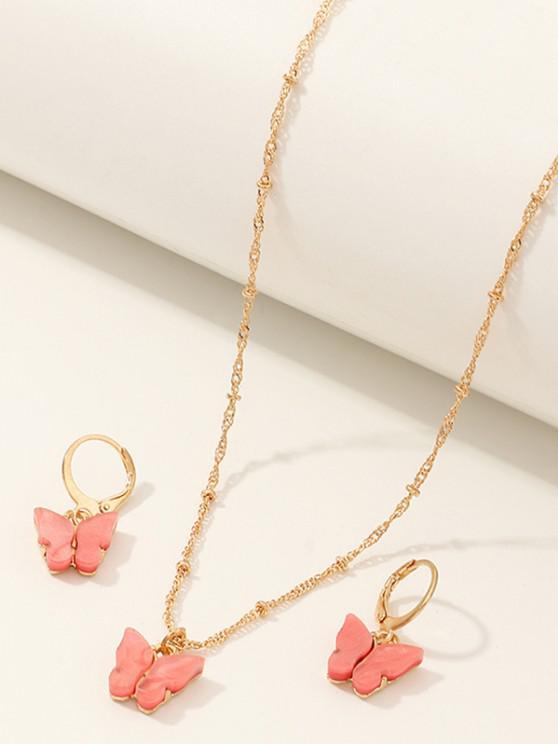 fancy Butterfly Acrylic Earrings Necklace Set - WATERMELON PINK
