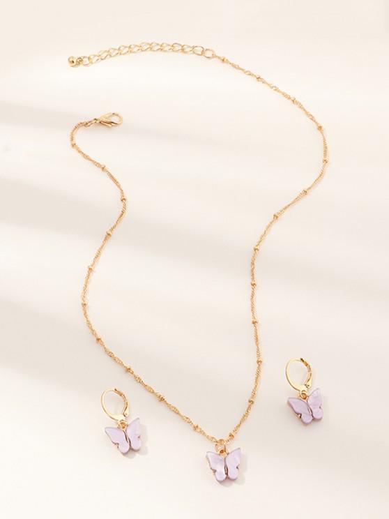 unique Butterfly Acrylic Earrings Necklace Set - MAUVE