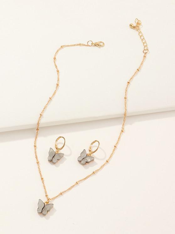 Butterfly Acrylic Earrings Necklace Set - سحابة رمادية