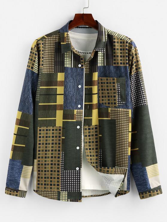 ladies ZAFUL Geometric Pattern Pocket Button Up Shirt - MULTI S