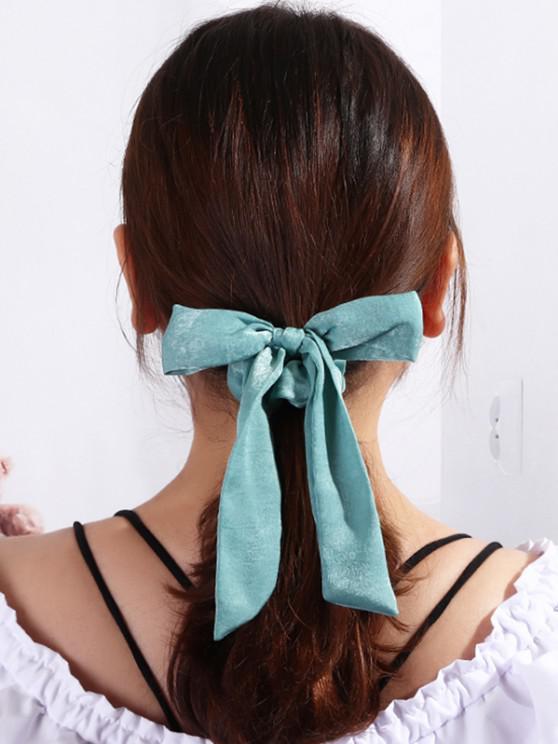 Solid Bowknot Ribbon Scrunchie - الأزرق هوستا