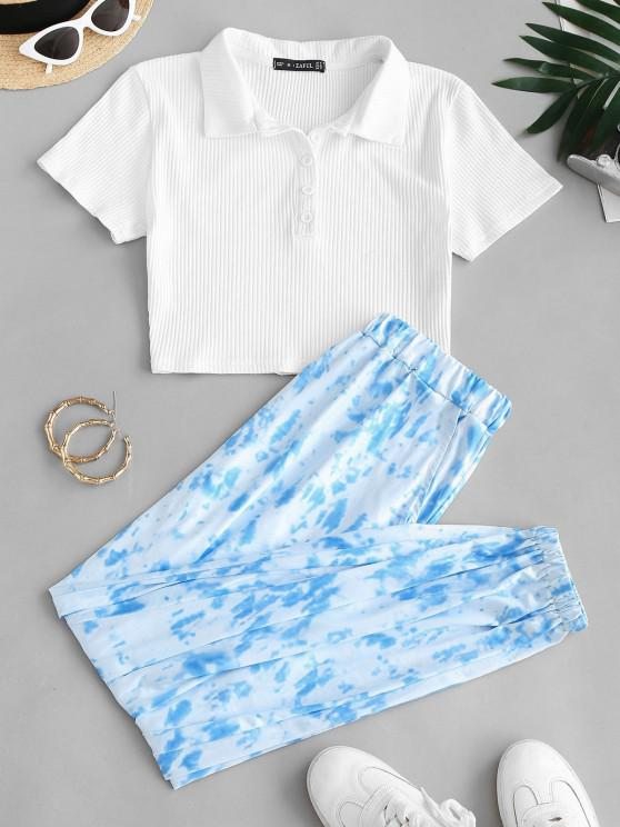 Button Front Ribbed Tie Dye Two Piece Set - أزرق فاتح M